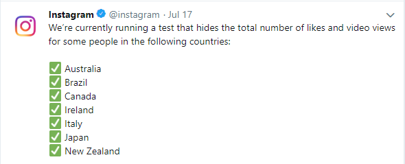 7 countries where Instagram tests hiding likes